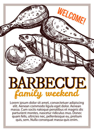 Barbecue vector hand drawn party poster with grill food. Sketch bbq design with typography
