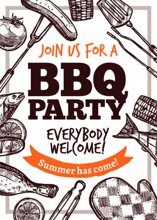 Barbecue vector hand drawn party poster with grill food. Sketch bbq design with typography Stockfoto - 129733066