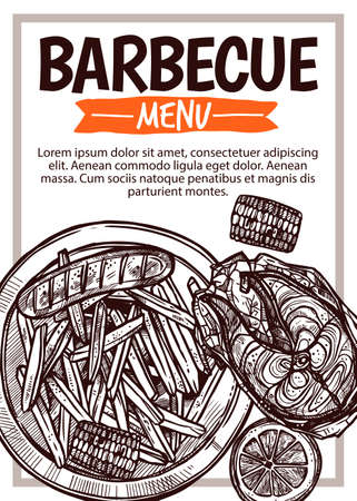 Barbecue vector hand drawn party poster with grill food. Sketch bbq design with typography Stockfoto - 129733070