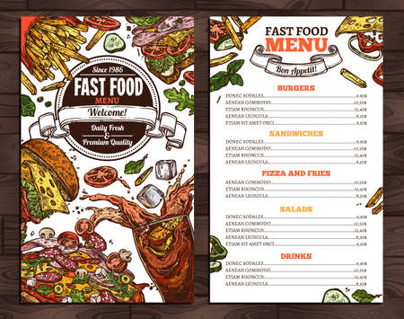 Fast food vector menu template in sketch style. Design for restaurant menu with hand drawn illustrations of burger, drink, french fries, pizza and sandwich Illusztráció