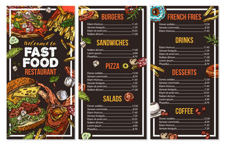 Fast food vector menu template in sketch style. Design for restaurant menu with hand drawn illustrations of burger, drink, french fries, pizza on chalckboard Illusztráció