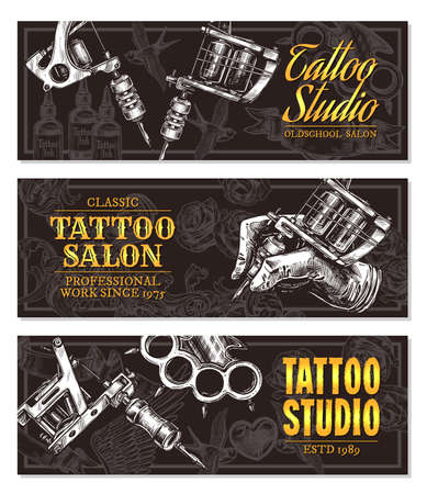 Hand drawn horizontal vector tattoo studio banners with sketch engraving illustration. Monochrome templates set for tattooist salon Çizim