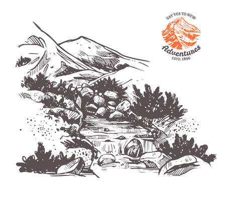 Ilustración de vector dibujado a mano de montaña con río y cascada. Paisaje en estilo boceto grabado para diseño de aventuras Ilustración de vector