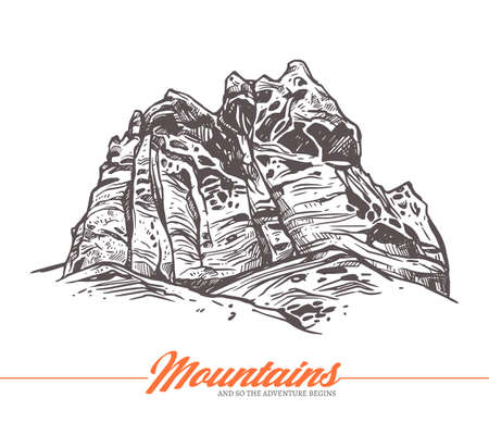 Hand drawn vector illustration of mountain. Rock in sketch engraving style for adventure design