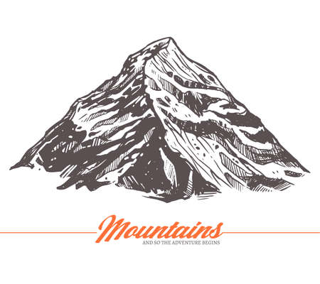 Hand drawn vector illustration of mountain. Rock in sketch engraving style  イラスト・ベクター素材