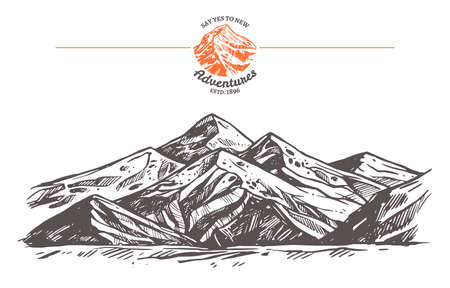 Hand drawn vector illustration of mountains. Rock in sketch engraving style for adventure design