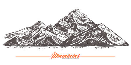 Hand drawn vector illustration of mountains. Rock in sketch engraving style for adventure poster  イラスト・ベクター素材