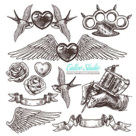 Hand drawn vector tattoo studio collection with sketch engraving illustration. Monochrome templates design for salon. Set with machine for tattooist and tattoo design Ilustrace