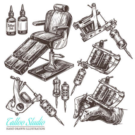 Hand drawn vector tattoo studio collection with sketch engraving illustration. Set with equipment and machines for tattooist and chair for salon Çizim