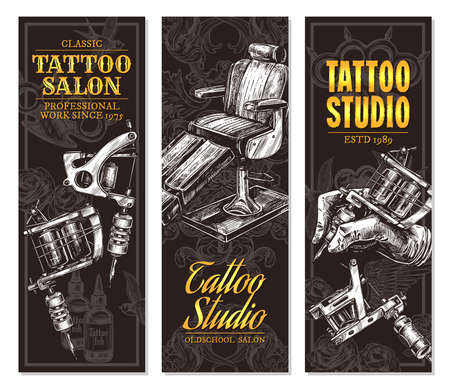 Hand drawn vertical vector tattoo salon banners with sketch engraving illustration. Monochrome templates set for tattooist studio