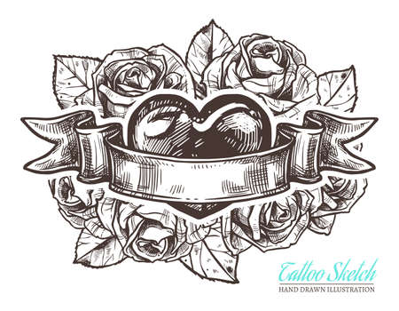 Sketch illustration of heart with roses and vintage ribbon. Vector hand drawn old style tattoo art
