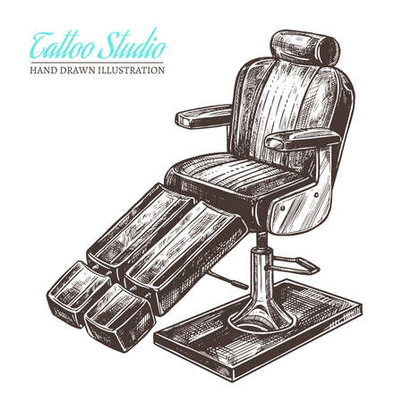 Vector hand drawn sketch illustration of chair for tattoo salon and studio Çizim