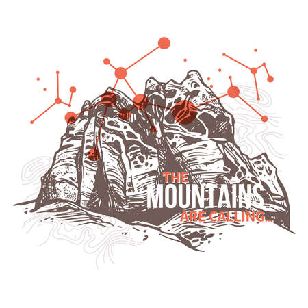 Engraving sketch of mountains with geometric abstract background with typography. Retro surrealistic trendy illustration about adventure and explorering Ilustração