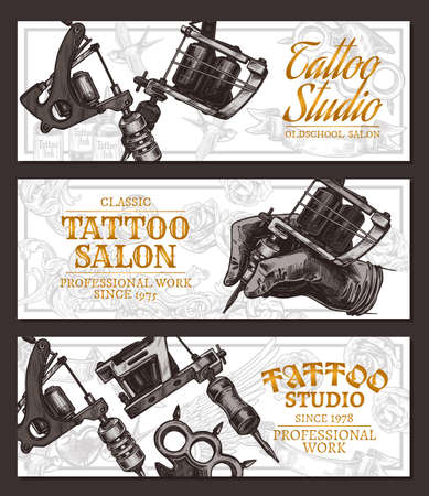 Hand drawn horizontal vector tattoo studio banners with sketch engraving illustration on white. Monochrome templates set for tattooist salon
