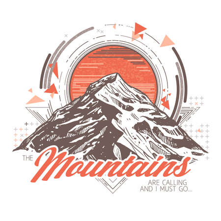 Hand drawn sketch mountains with geometric abstract pattern. Vector trendy illustration for poster or card about adventure