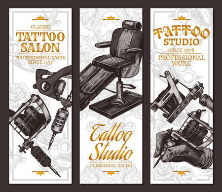 Hand drawn vertical vector tattoo salon banners with sketch engraving illustration on white. Monochrome templates set for tattooist studio