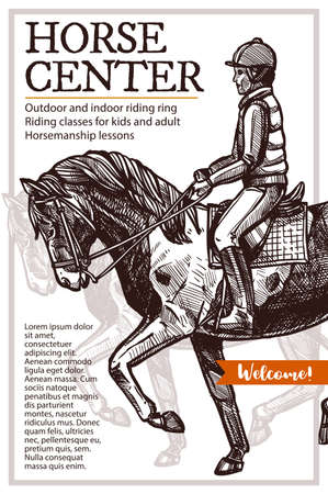 Horse center vector hand drawn poster. Sketch illustration with rider 일러스트