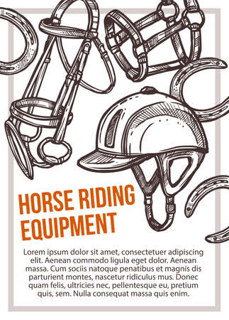 Horse riding equipment shop vector hand drawn poster. Sketch illustration