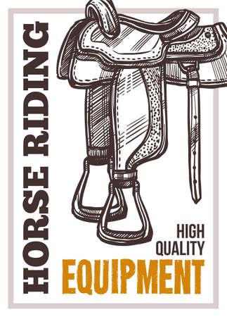 Horse riding equipment shop vector hand drawn poster. Sketch illustration