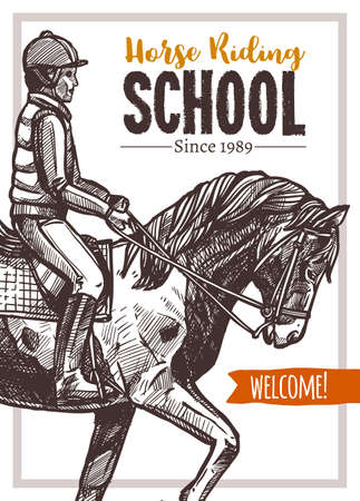 Horse riding school vector hand drawn poster. Sketch illustration