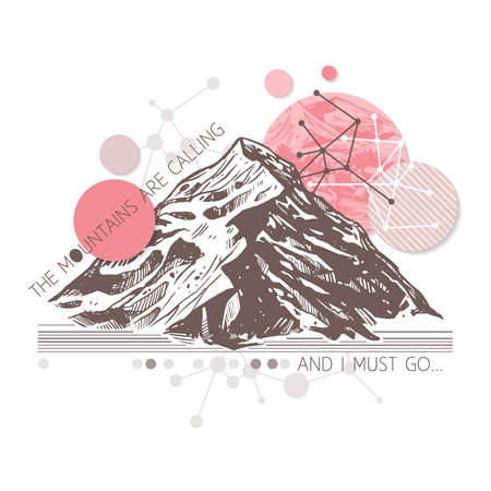Retro surrealistic trendy illustration about adventure and explorering. Engraving sketch of mountains with geometric abstract background with typography