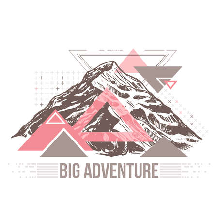 Surreal retro illustration about adventure and explorering. Trendy color geometric abstract pattern with sketch mountains