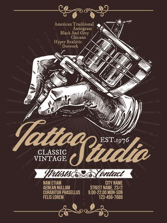 Tattoo studio engraving vector poster. Template of emblem for tattooist. Badge with hand drawing with tattoo machines on black with typography
