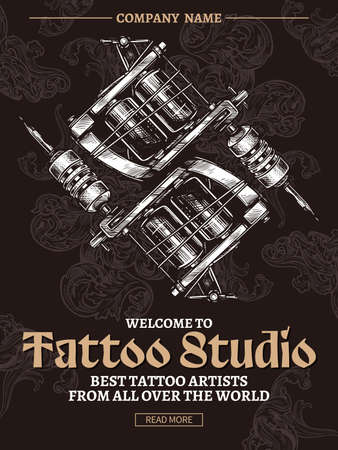 Tattoo studio vintage poster  with typography and tattoo machines in engraving vector style