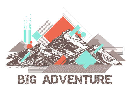 Trendy color geometric abstract pattern with sketch mountains. Surreal retro illustration about adventure and explorering