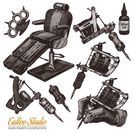 Vector hand drawn tattoo studio collection with sketch engraving illustration. Set with equipment and machines for tattooist and chair for salon