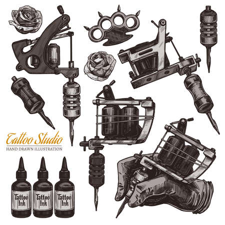 Vector hand drawn tattoo studio collection with sketch engraving illustration. Set with equipment and machines for tattooist and ink Ilustração