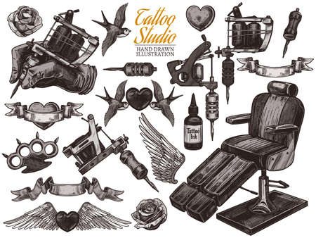 Vector hand drawn tattoo studio collection with sketch engraving illustration. Set with equipment and machines for tattooist and tattoo design