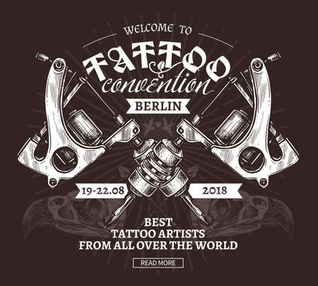 Vector hand drawn trendy poster for tattoo convention in engraving style. Sketch illustration of vintage machines on black