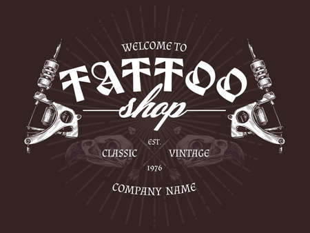 Vintage tattoo shop logo with two tattoo machines. Vector poster in hand drawn sketch style Ilustração