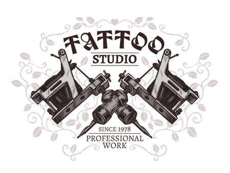 Design of poster for tattoo studio with two crossed tattoo machines in hand drawn engraving style