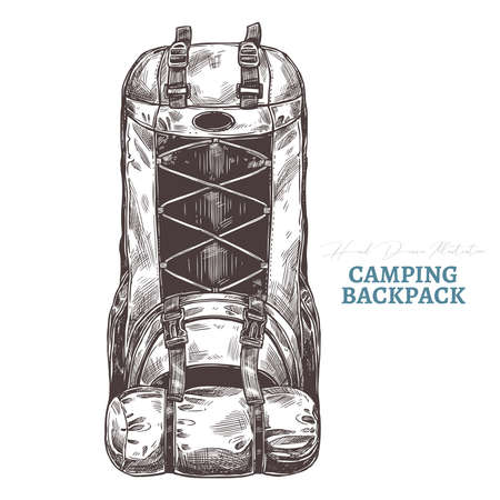 Hand drawn camping backpack. Isolated vector illustration in sketch engraving style. Touristic accessories and equipment