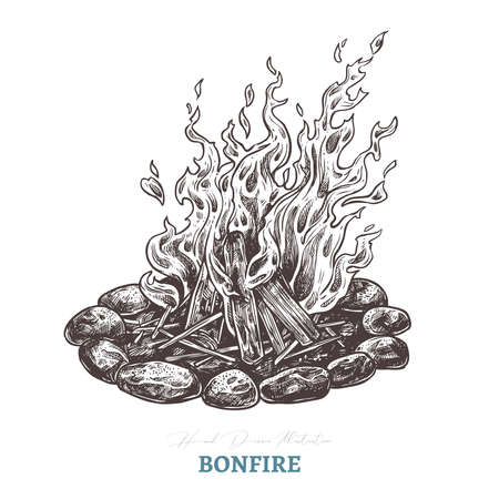Hand drawn camping bonfire. Isolated vector illustration of fire in sketch engraving style