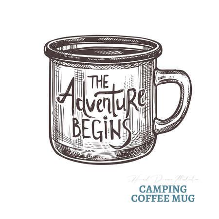 Handgezeichnete Camping-Kaffeetasse mit Schriftzug das Abenteuer beginnt. Isolierte Vektorillustration im Stil der Skizzengravur