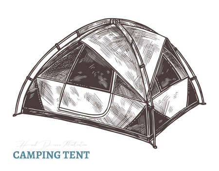 Hand drawn camping tent. Isolated vector illustration in sketch engraving style. Touristic accessories and equipment Ilustração