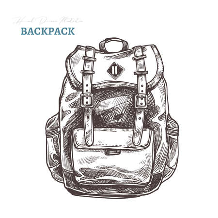 Hand drawn casual fashion backpack. Isolated vector illustration in sketch engraving style. Hipster bag Ilustração