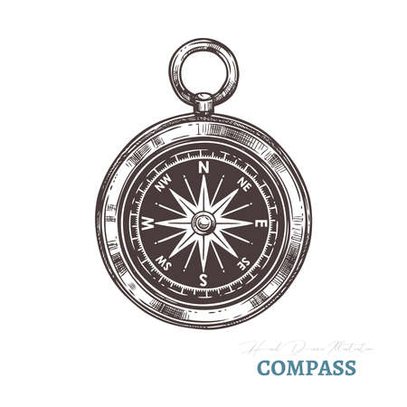 Hand drawn compass. Isolated vector illustration in sketch engraving style