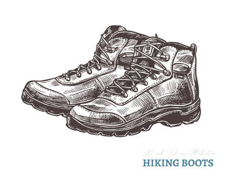 Hand drawn hiking boots. Isolated vector illustration in sketch engraving style