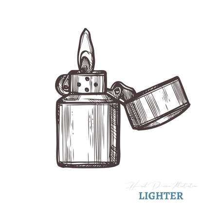 Hand drawn lighter with fire. Isolated vector illustration in sketch engraving style
