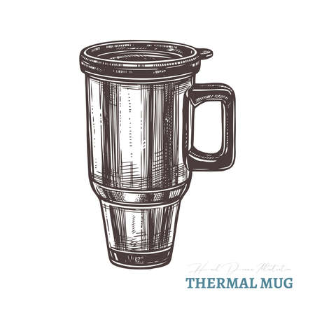 Hand drawn thermal coffee or tea mug. Isolated vector illustration in sketch engraving style Ilustração