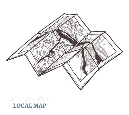 Hand drawn toristic paper map of mountain. Isolated vector illustration in sketch engraving style. Terrain plan Ilustração