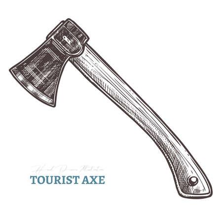 Hacha turística dibujada a mano. Ilustración de vector aislado en estilo de grabado de boceto