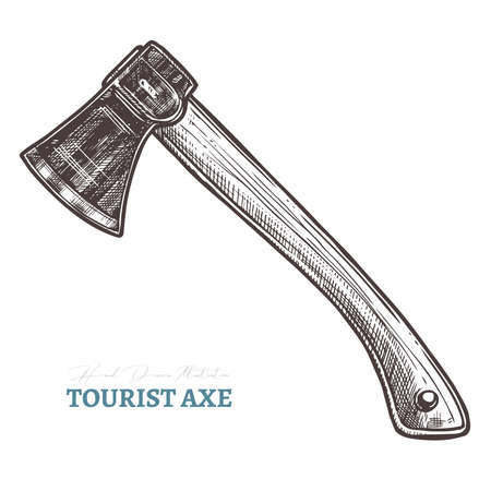 Hand drawn tourist axe. Isolated vector illustration in sketch engraving style