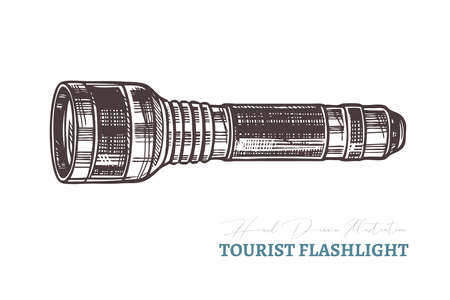 Hand drawn tourist flashlight. Isolated vector illustration in sketch engraving style Ilustração