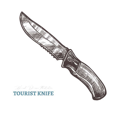 Hand drawn tourist knife. Isolated vector illustration in sketch engraving style