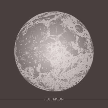 Hand drawn vector illustration of moon on black background. Sketch engraving style 일러스트